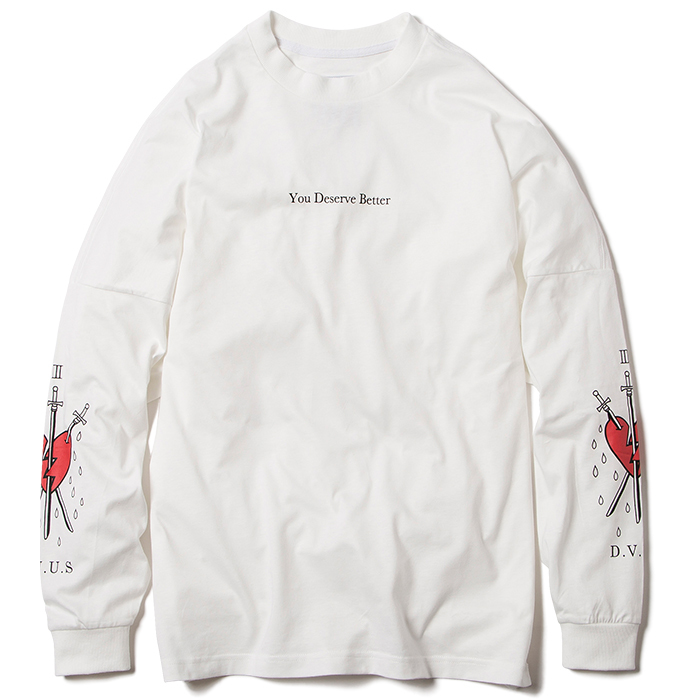 【Deviluse | デビルユース】Deserve Better Dropshoulder L/S T-shirts(White)