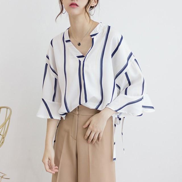 春夏のおすすめ☆ スタイリッシュ  縦ストライプシャツ 7分丈 ゆったりで体系カバー