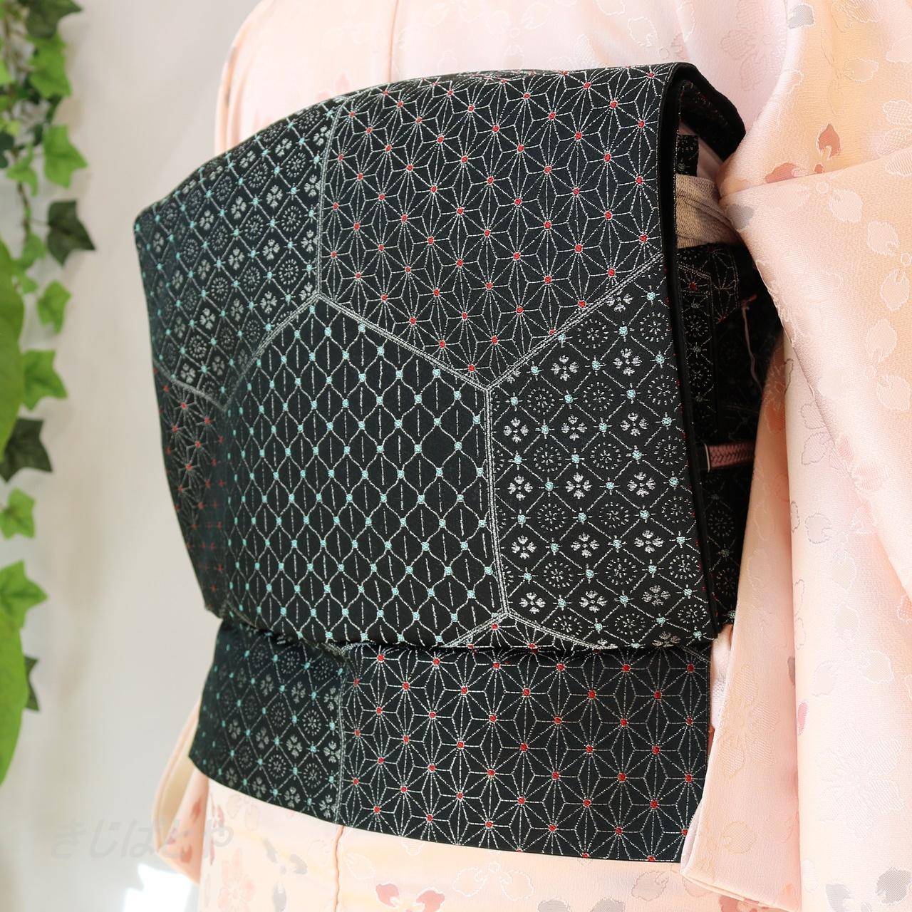 正絹 黒地に亀甲の袋帯