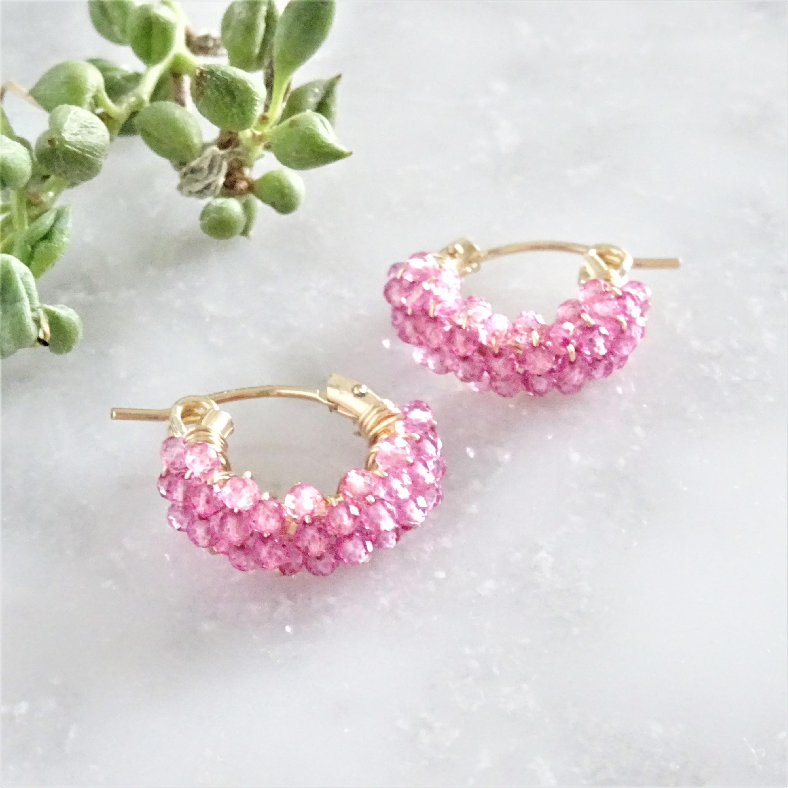 送料無料14kgf*Pink Topaz pavé earring / pierced earring