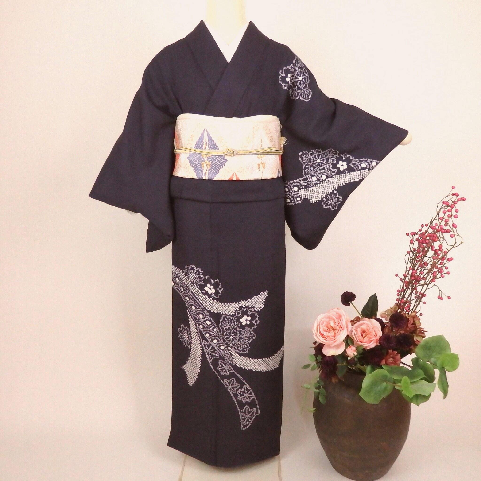 粋な江戸紫の付け下げと西陣織袋帯4点セット825