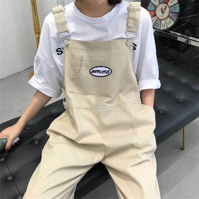 【送料無料】 カジュアルコーデに♡ ロゴマーク サロペット ストレートパンツ ボーイフレンド