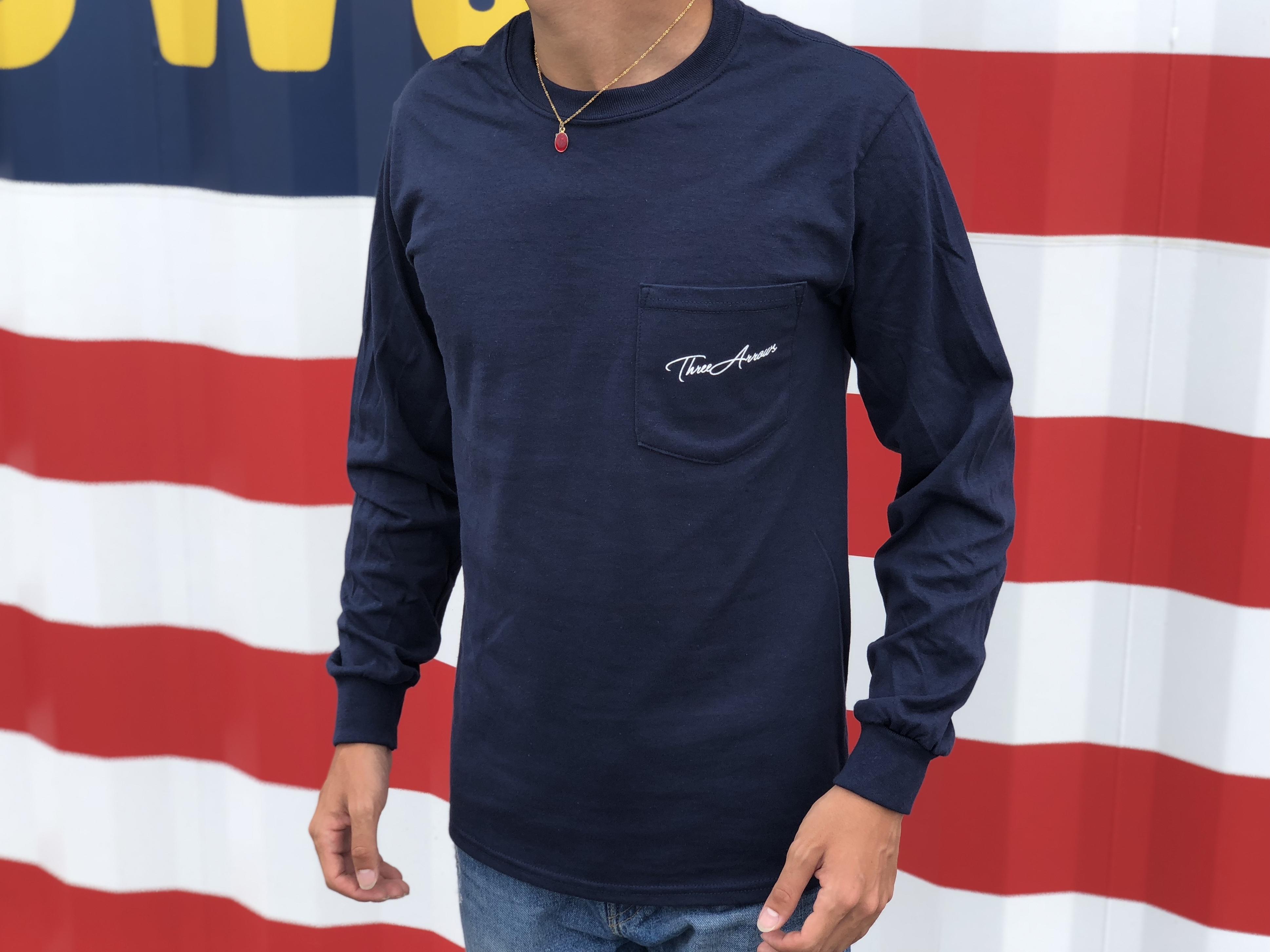ThreeArrows ポケット付きロングTシャツ(navy)