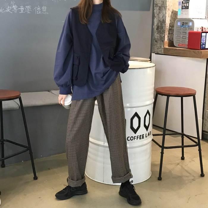【送料無料】 ゆるカジスタイル♡ チェック柄 ストレート ハンサム レトロ メンズライク カジュアル パンツ