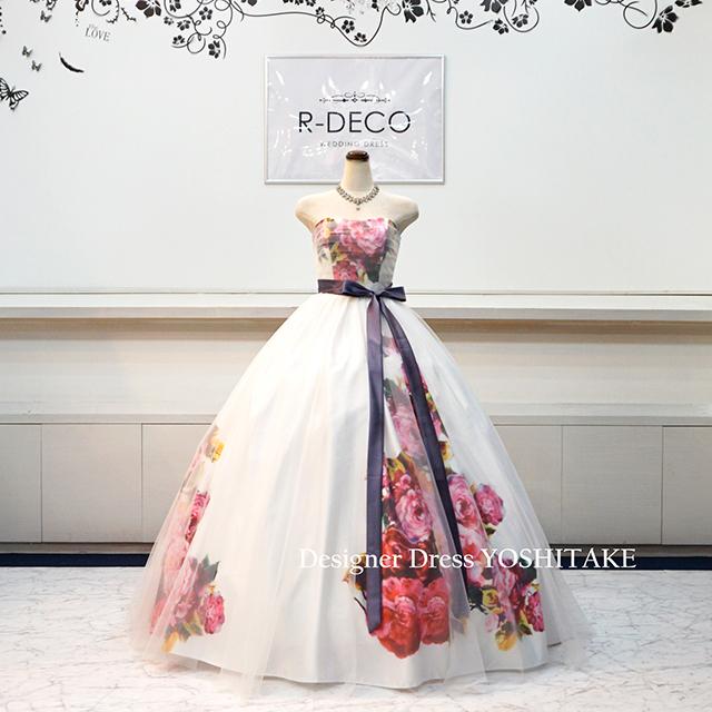 【オーダー制作】ウエディングドレス(6本骨パニエ無料) 白花柄&チュール 披露宴/二次会 ※制作期間3週間から6週間