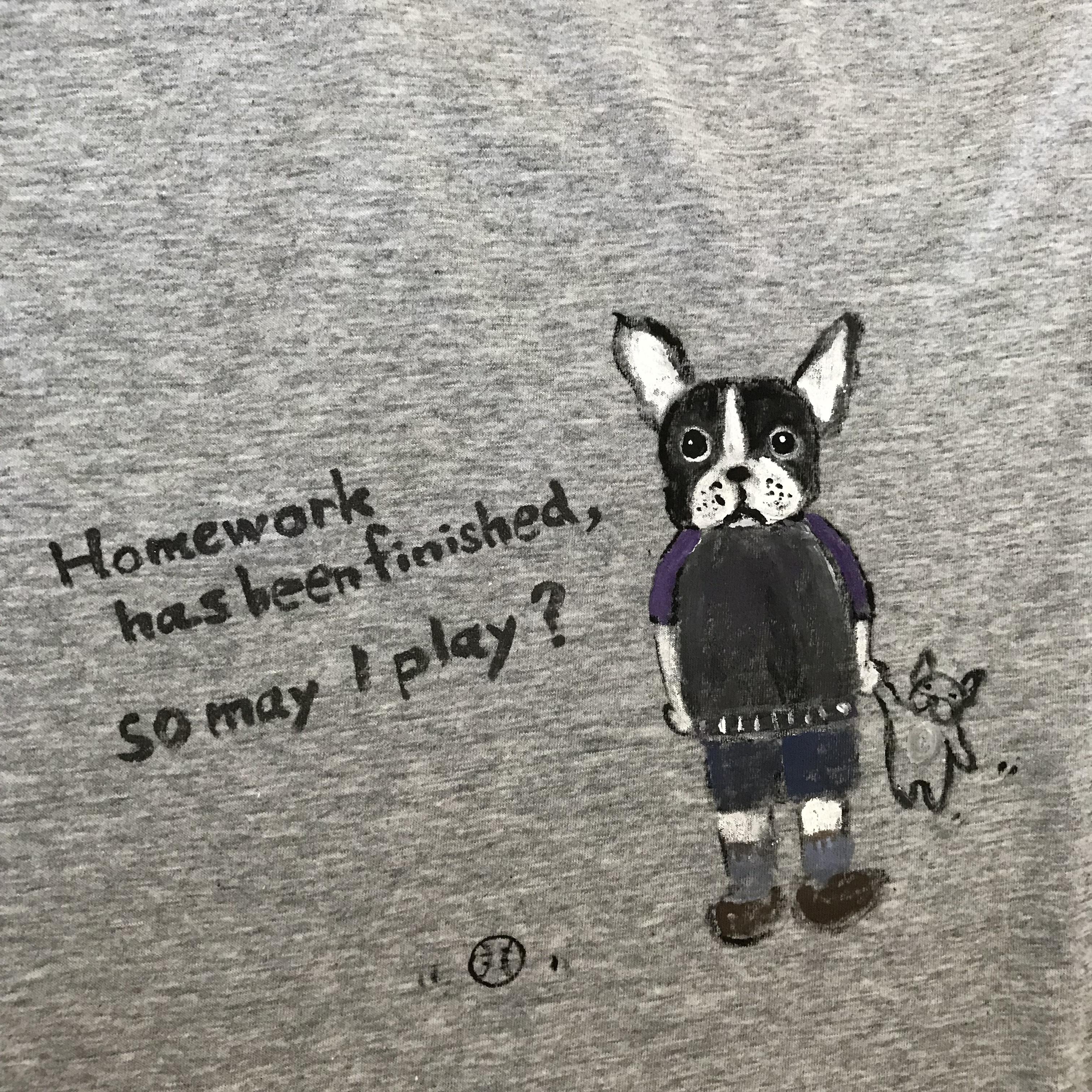 BUHIお絵描きTシャツ(レディースL)おもちゃ・グレー