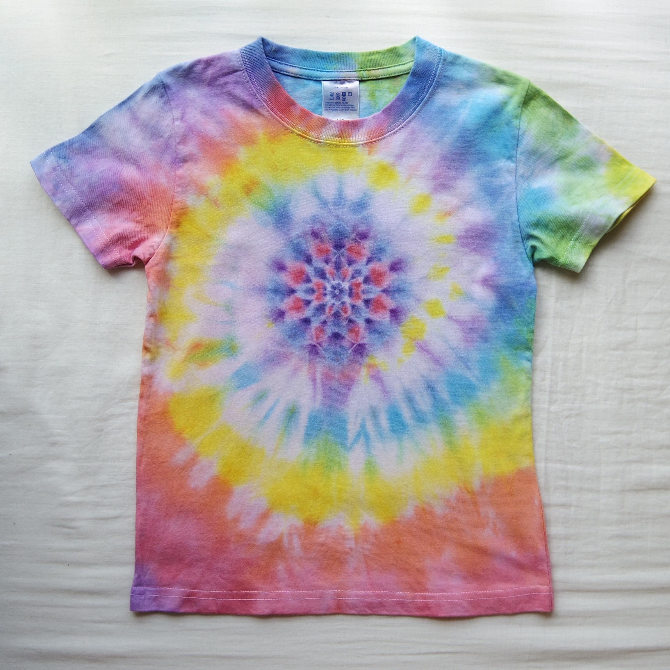TKHOME FACTORY 曼荼羅染め×スパイラル タイダイ キッズTシャツ 120cm