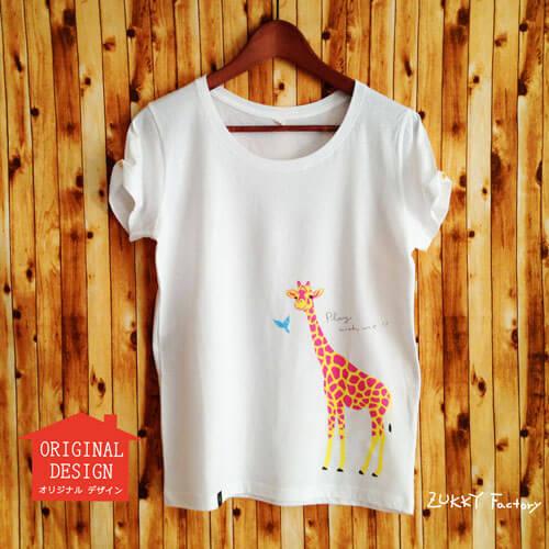 レディースTシャツ キリン 白