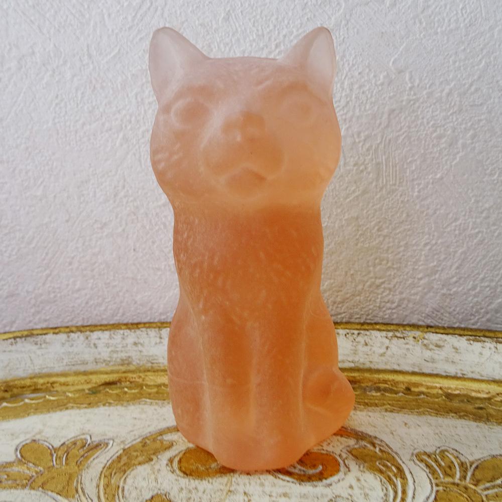 チェコスロバキア ボヘミアガラスの置き物 ねこ / マットピンク