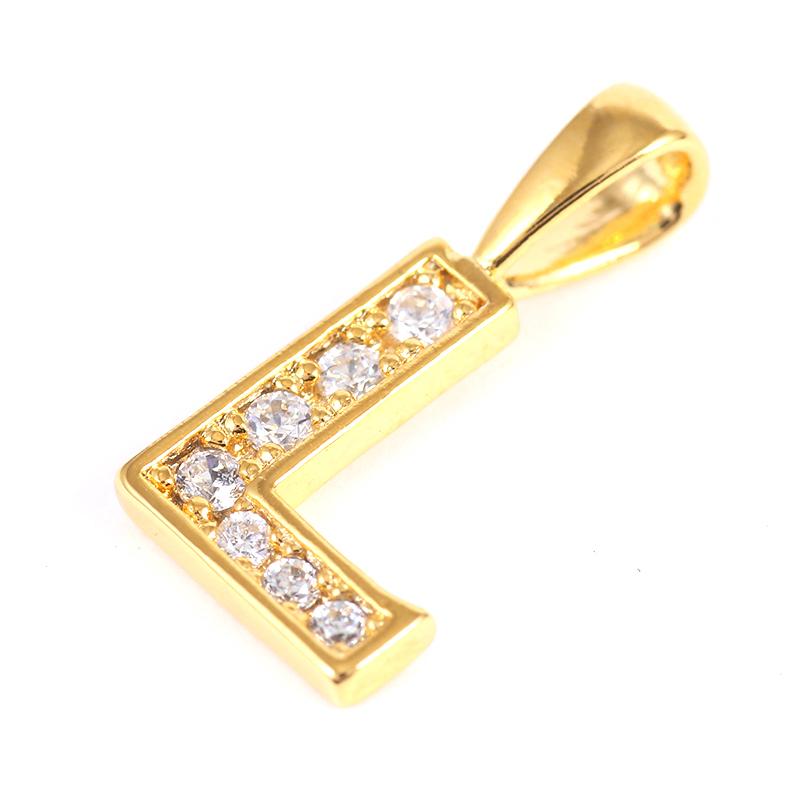 K18GP 【L】ダイヤモンドアルファベット パヴェ チャーム