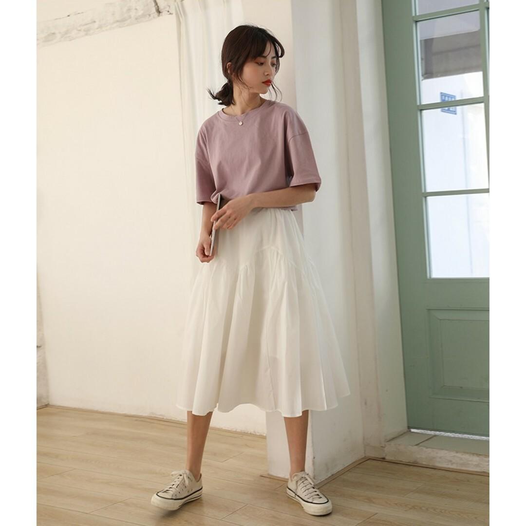 【送料無料】Aライン ミディ丈 フレア ティアードスカート B19070501