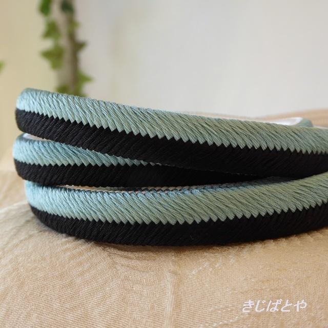 正絹 青磁と黒と白の帯締め