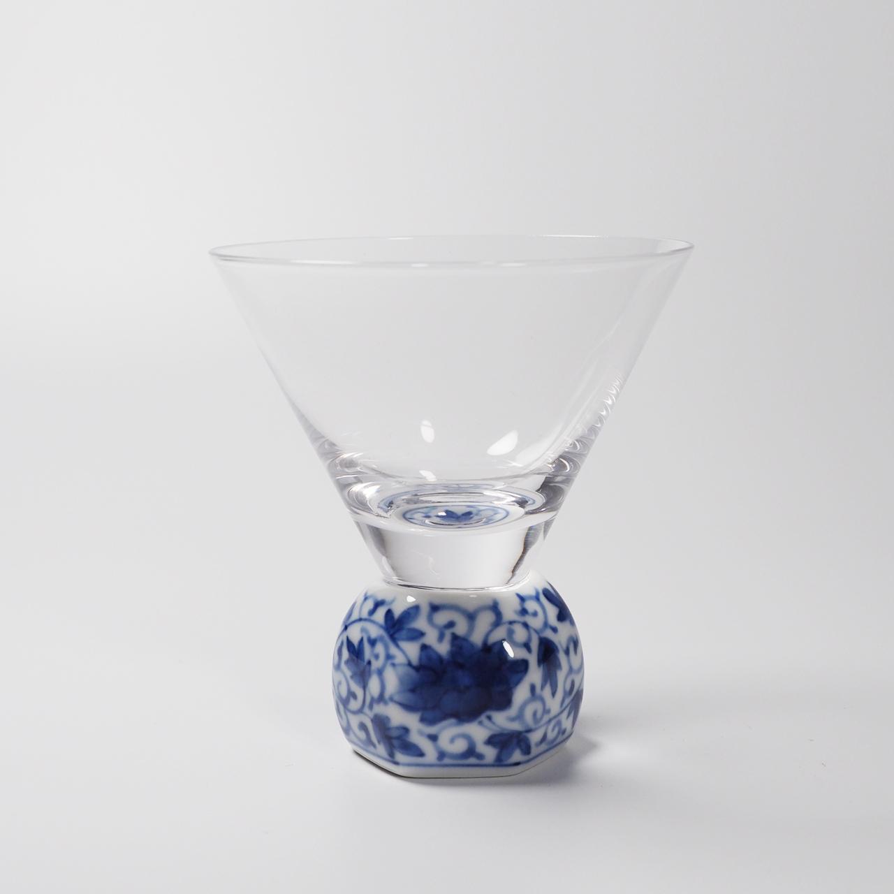 酒グラス(六角) 染付華唐草 20-001-B