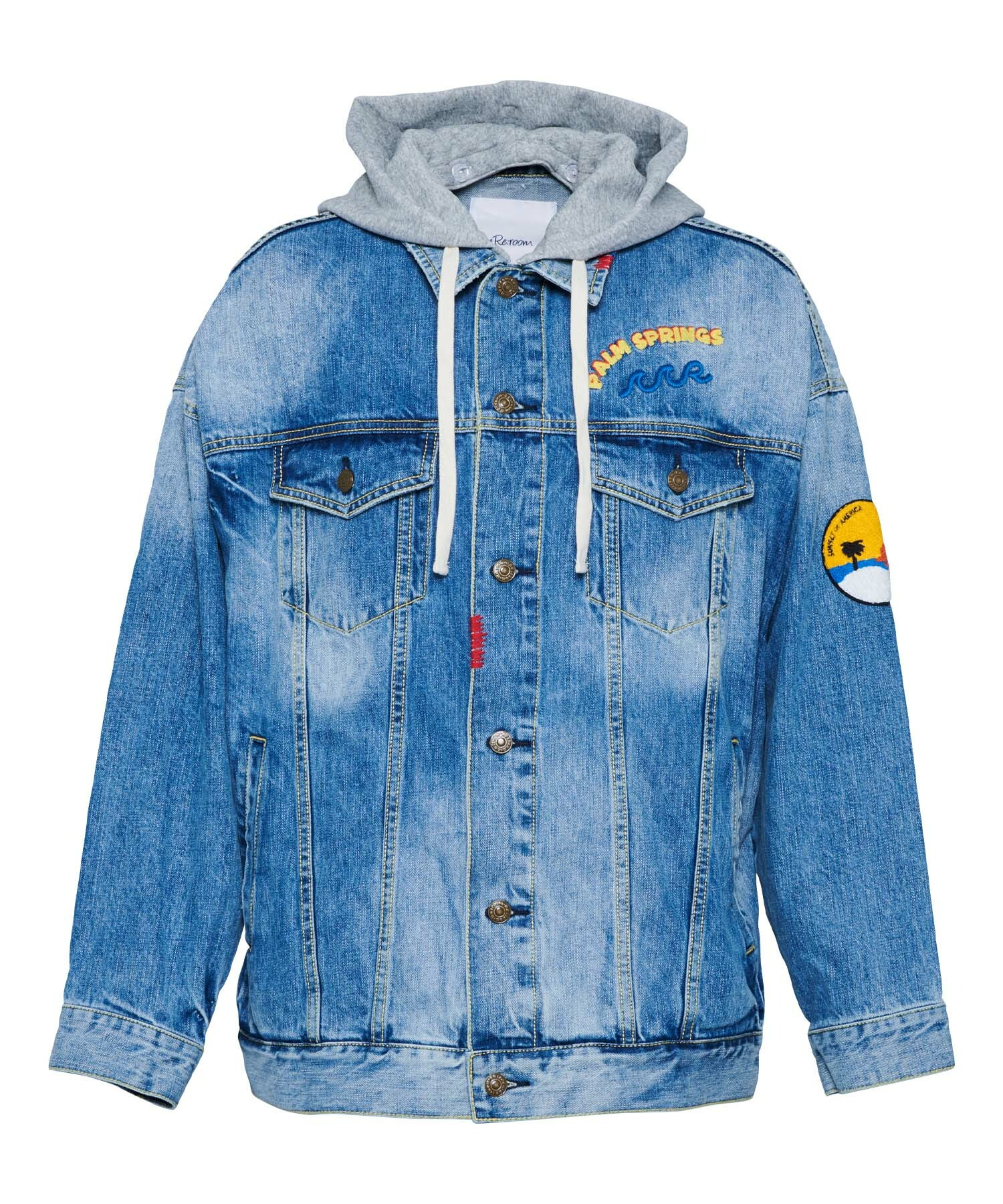 EMBROIDERY BIG DENIM JACKET[REJ047]