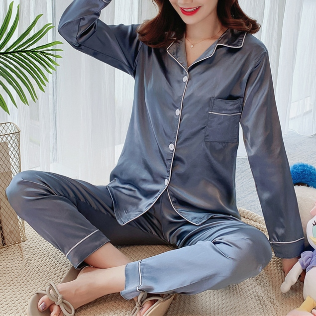 【パジャマ】ファッション足首丈シングルブレスト長袖上下セット34744250