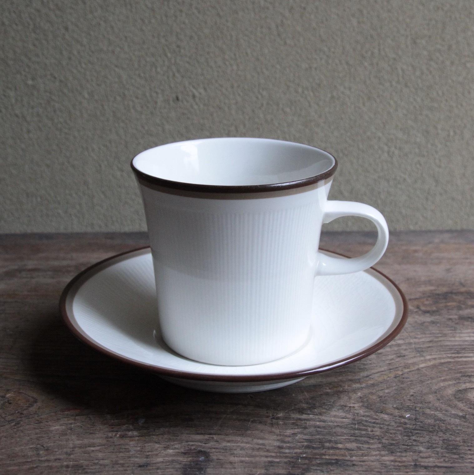 sanwa ブラウンラインのカップ&ソーサー 在庫4客