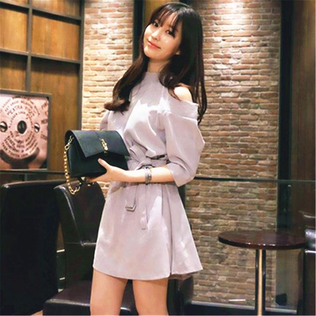 「ワンピース」女性らしいファッション韓国風ハイウエスト着瘦せカジュアルワンピース