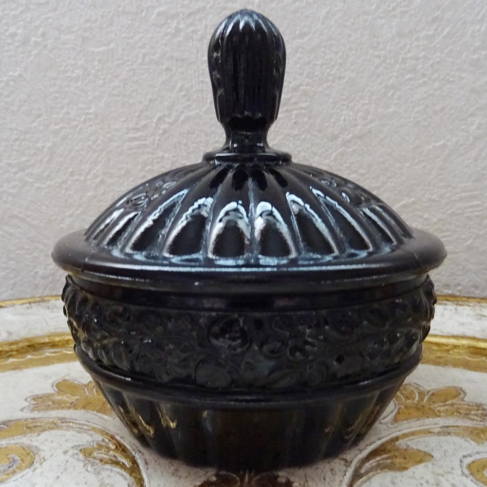 チェコスロバキア オニキスガラスのジュエリーポット