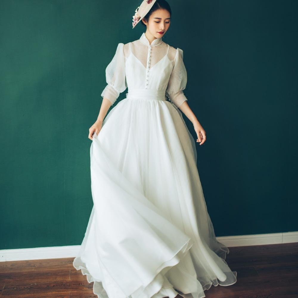【DearWhite】ウェディングドレス Aライン プリンセス エンパイア デコルテ 結婚式 披露宴 二次会 パーティーウェディングドレス・カラードレス・サイズオーダー格安オーダーメイド DW00017
