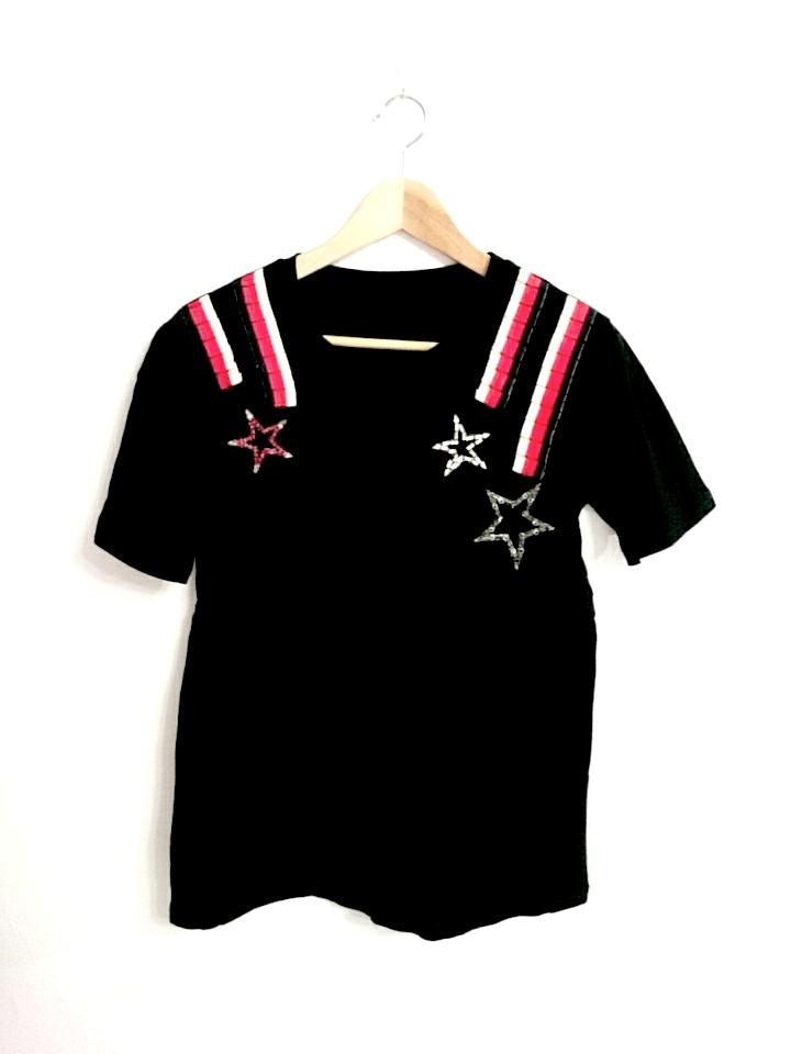 星とフリルリボンのキラキラTシャツ ブラック
