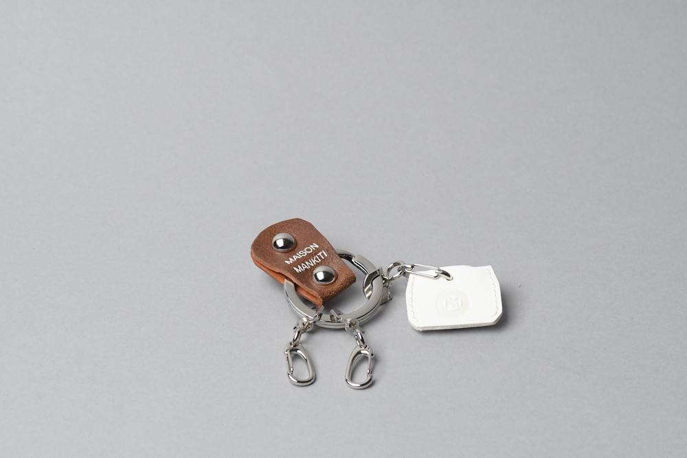 KEY RING・CAP ■ブラウンS・ホワイト■_本革真鍮キーリング・キーキャップセット_ - 画像1