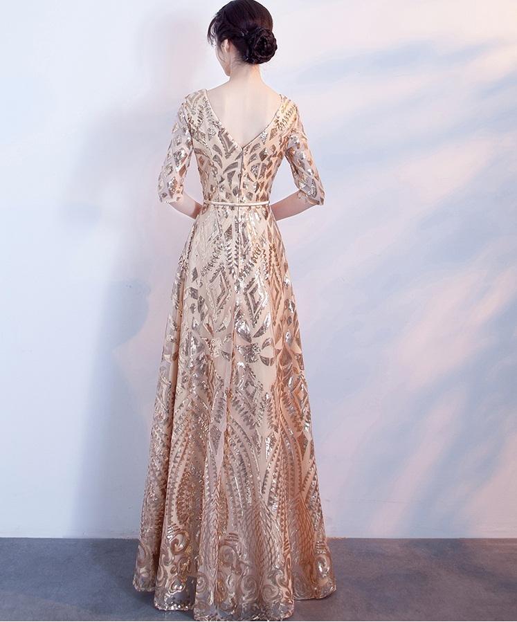 3efe6bff5e29f ... 大人気 5分袖Vネックロング丈ワンピースドレス ゴールド. すっきりと開いたVネックが女性らしい着こなしを演出♪  シンプルながらも大人っぽさが残るデザイン♪