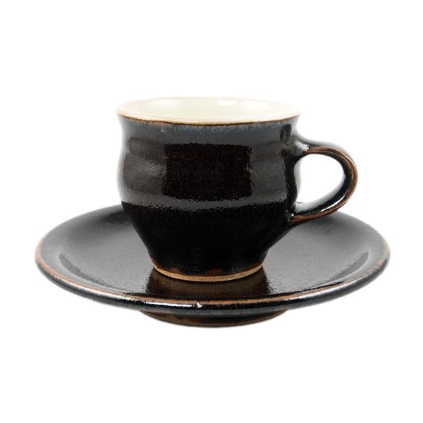 出西窯 カップ&ソーサー 黒