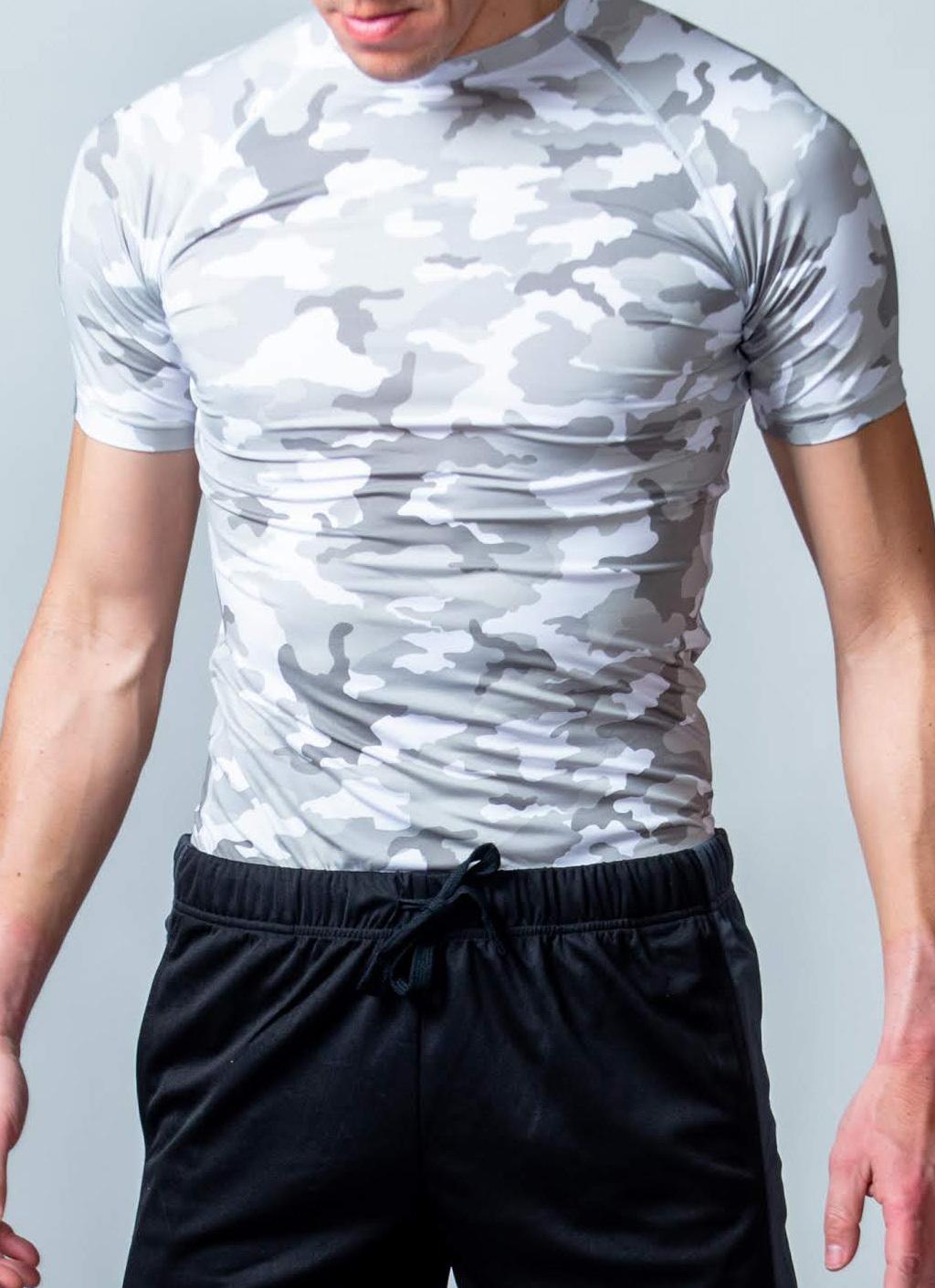 トレーニング時の動きをサポート「コンプレッションウェア(半袖)」 (ホワイト迷彩)