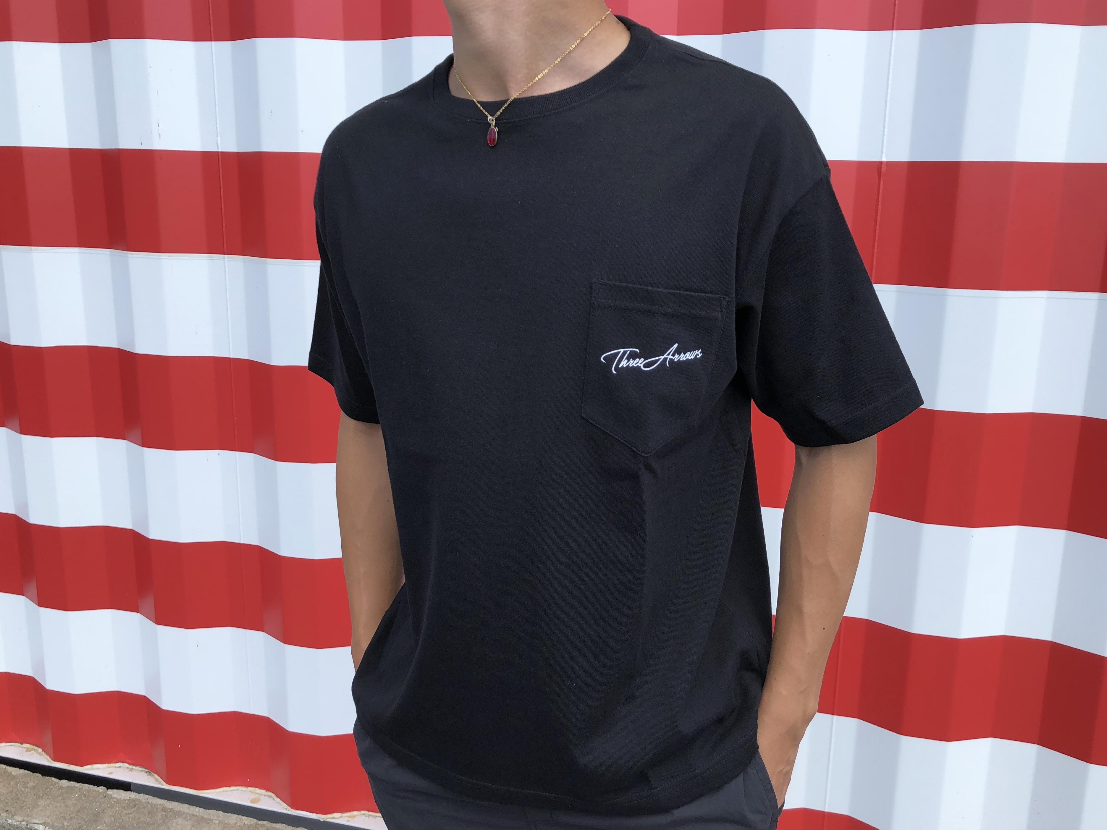 ThreeArrows ポケット付きBIGシルエットTシャツ(black)