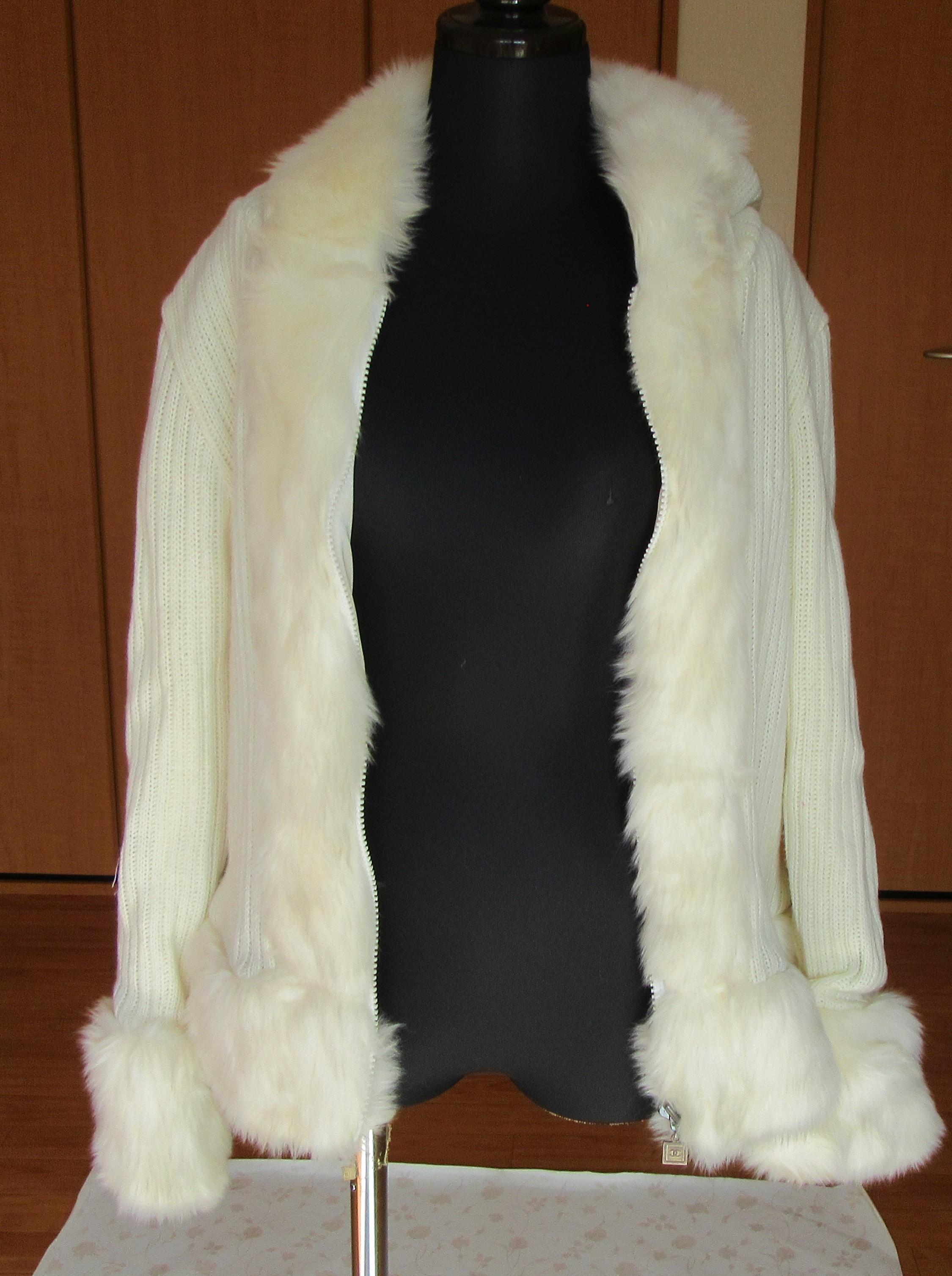 ジャケット ニット ホワイト フード・フェイクファー付き リセール商品 韓国製
