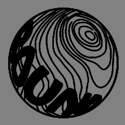 球体ロゴステッカー直径5cm【ブラック】