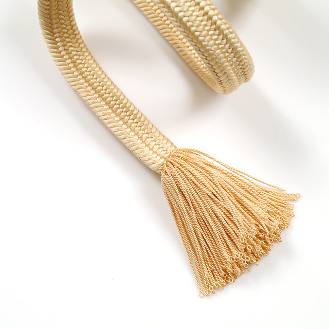 龍工房帯締め-冠組-淡黄色