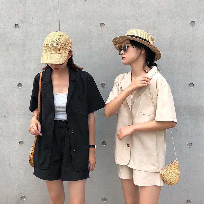 【送料無料】 夏のカジュアルコーデ♡ セットアップ 半袖 ジャケット & ショート パンツ ウエストゴム