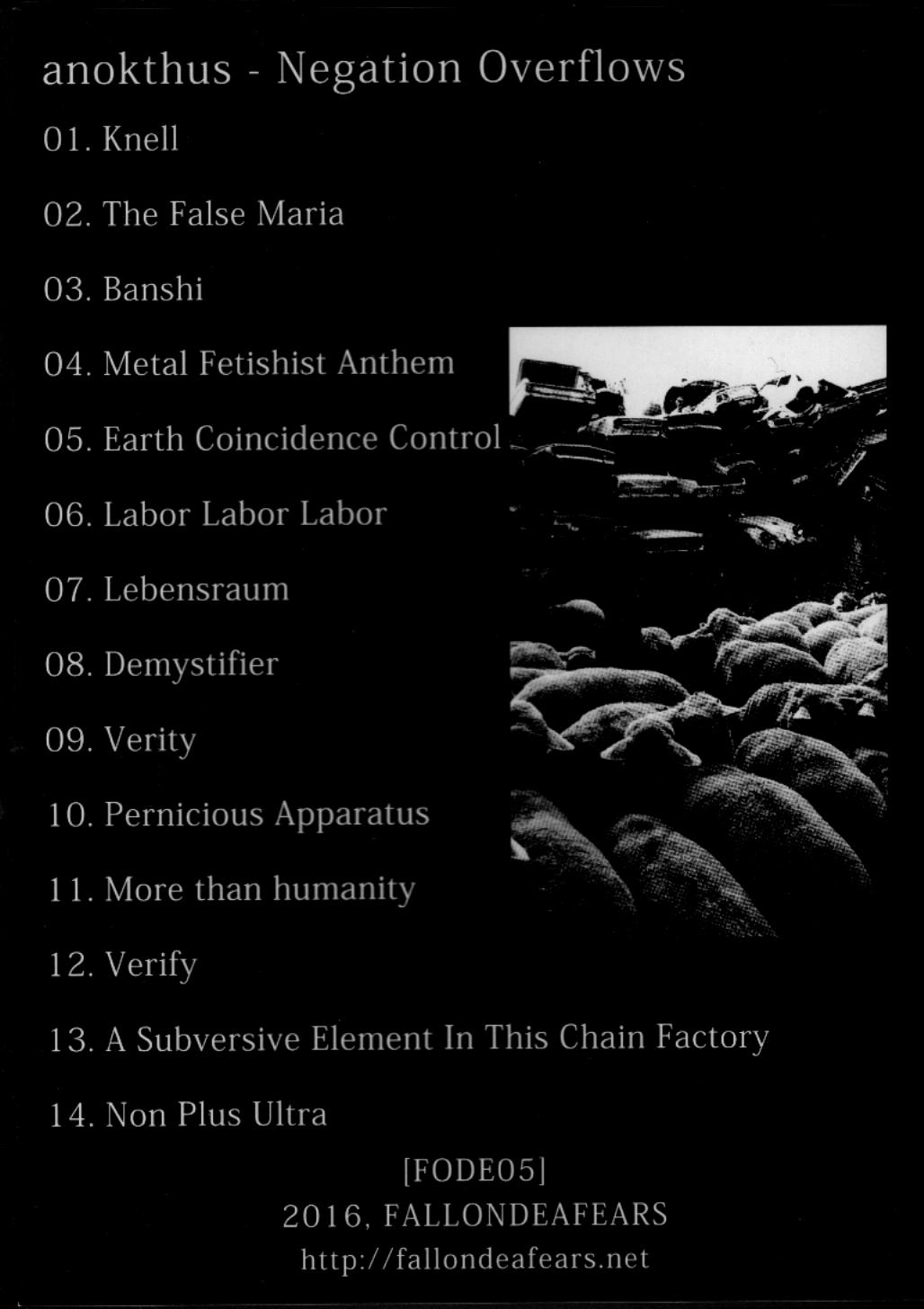 Anokthus - Negation Overflows  CD - 画像2