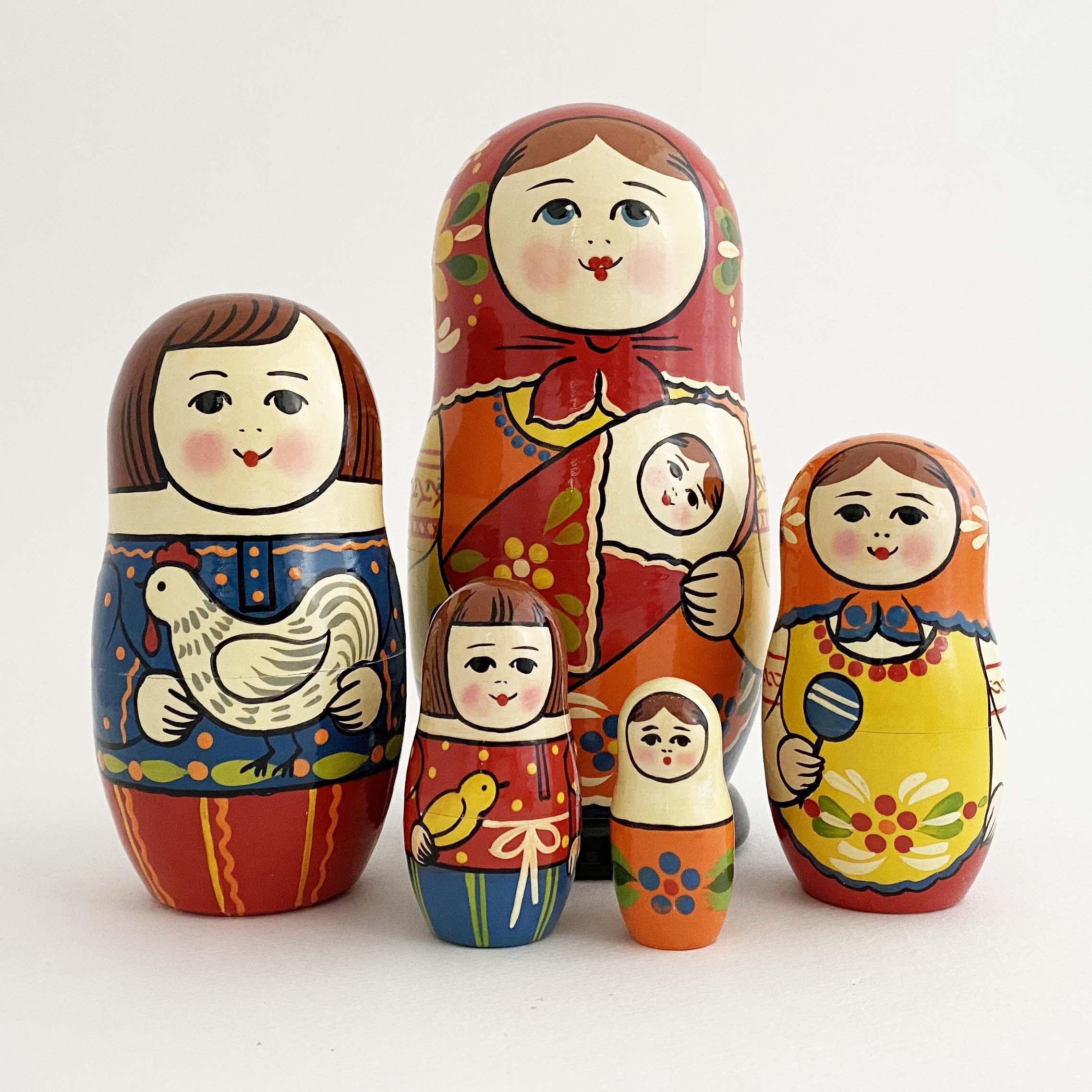 母の日のお母さんマトリョーシカ/5個組大A(セルギエフ産)