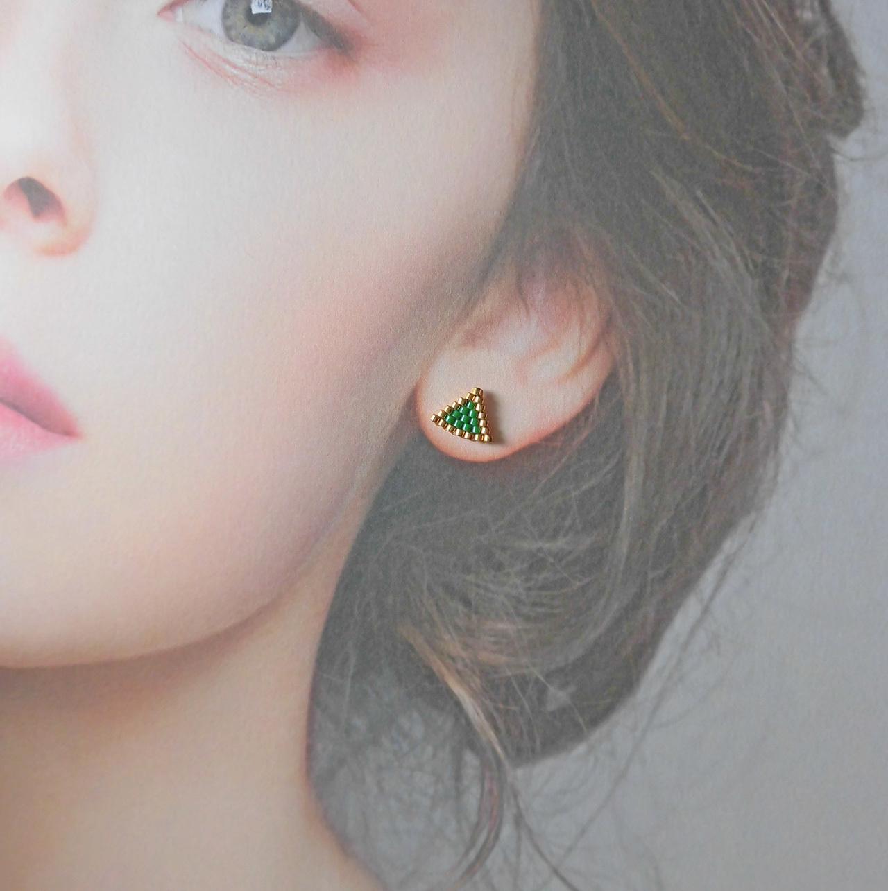 ★新色入荷★ manokoko 三角miniビーズ ピアス【14KGF】ハンドメイド アクセサリー