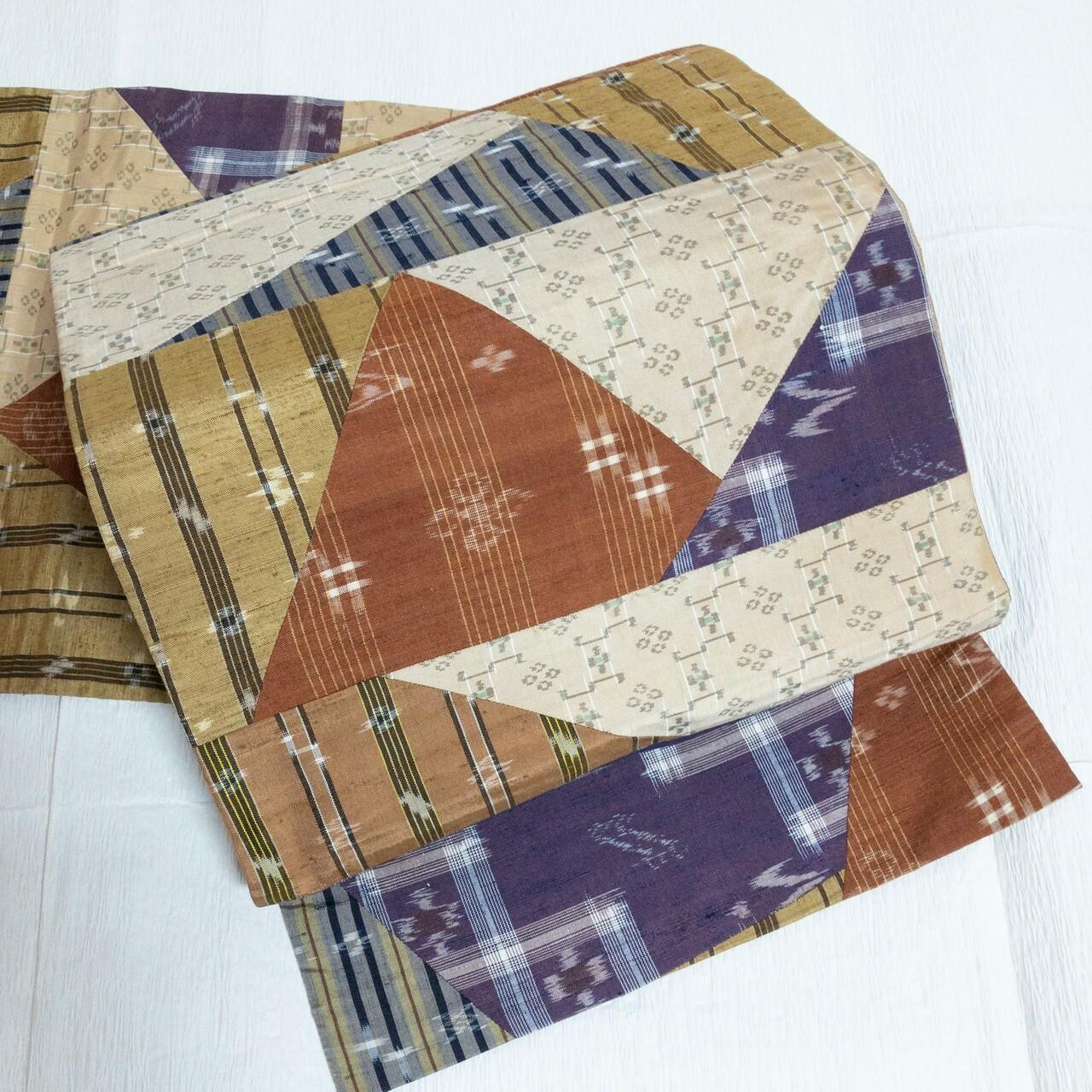 【手仕事感!】袋帯 洒落袋 民芸風紬切りばめ&マルチ縞 リバーシブル