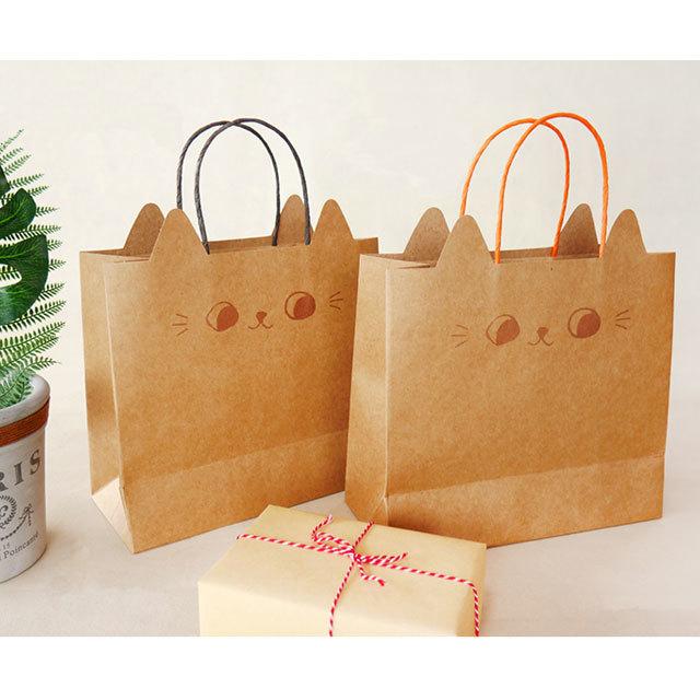 ラッピングバッグ 猫耳手提げ紙袋(大)