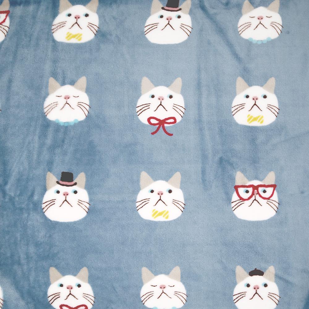 猫ブランケット(オメカシターチャンひざ掛け)ブルー