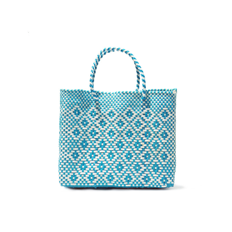 MERCADO BAG ROMBO - White x Light Blue(XS)