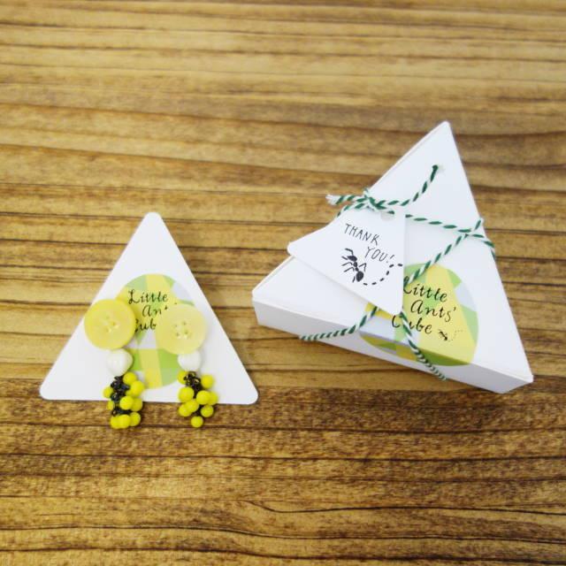 三角形箱 白 3枚入 台紙・メッセージカード・タグ付き 無地