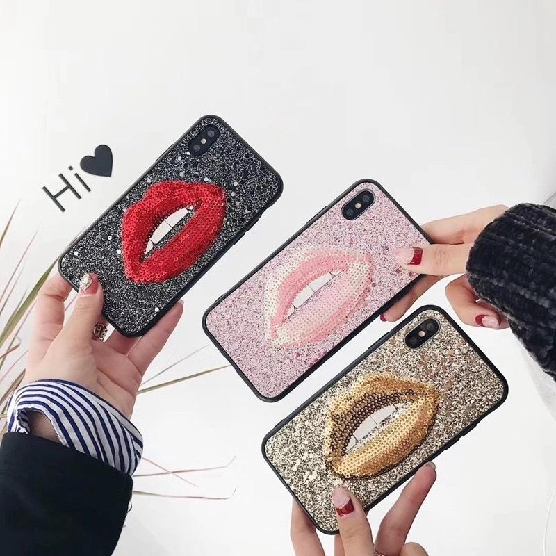 リップ スパンコール iPhone case