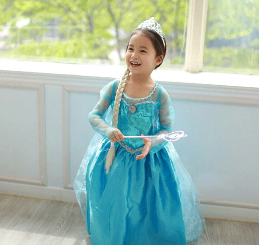 雪国の女王【水色ドレス】子供用コスプレ