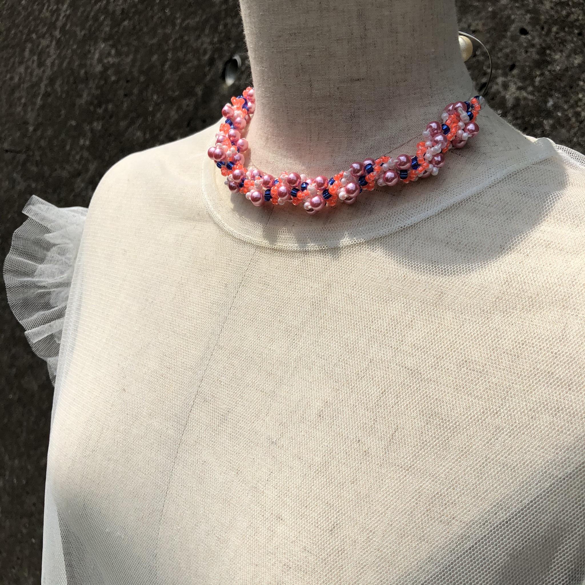 aK beads wire neckless 3 neon orange
