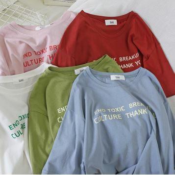 半袖Tシャツ 半袖トップス シンプル 無地 ロゴ ラウンドネック カジュアル デイリーユース ピンク/イエロー/ブルー/ホワイト/ブラック/レッド/ライトグリーン/グリーン