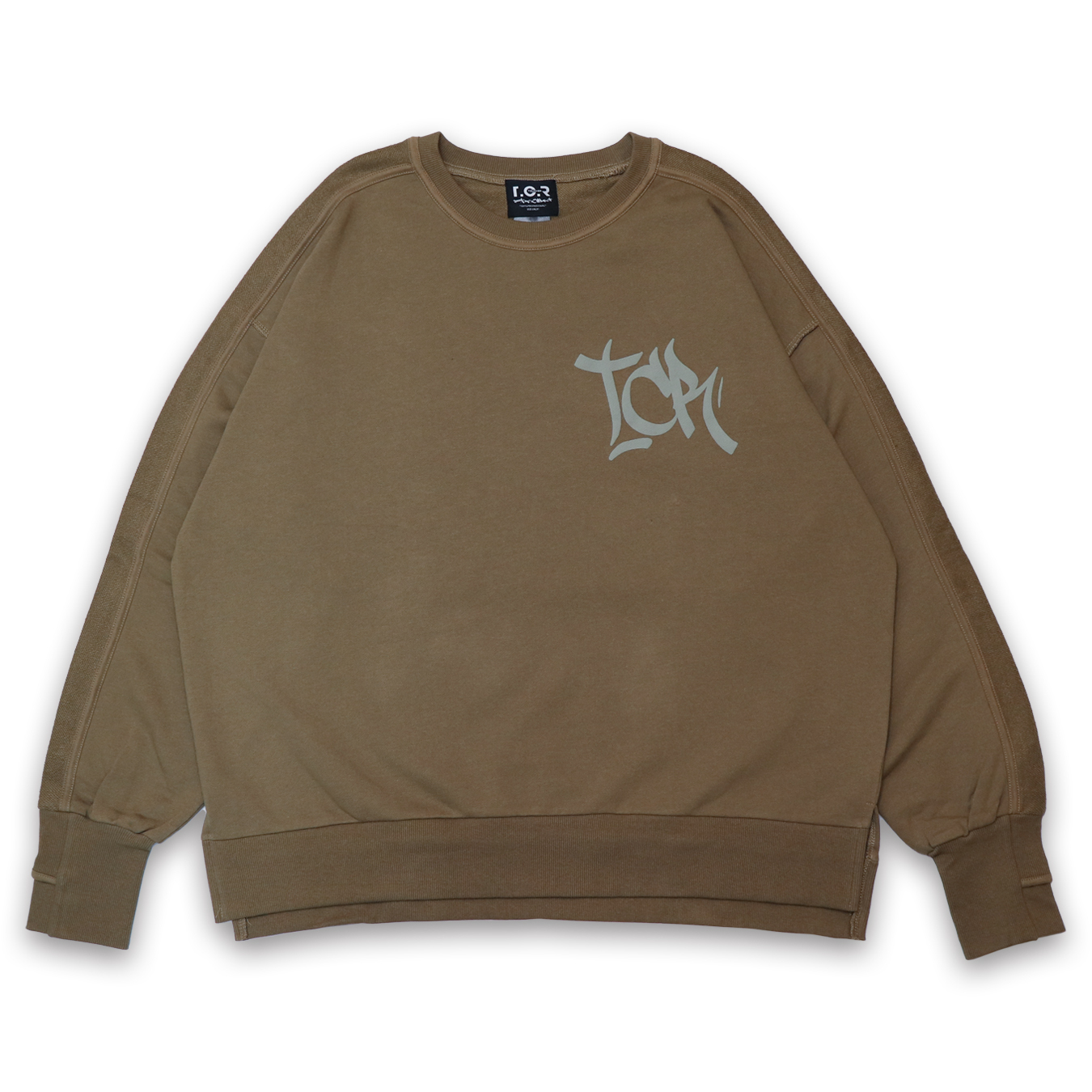 T.C.R FOAM LOGO CREW SWEAT - WASHED KHAKI