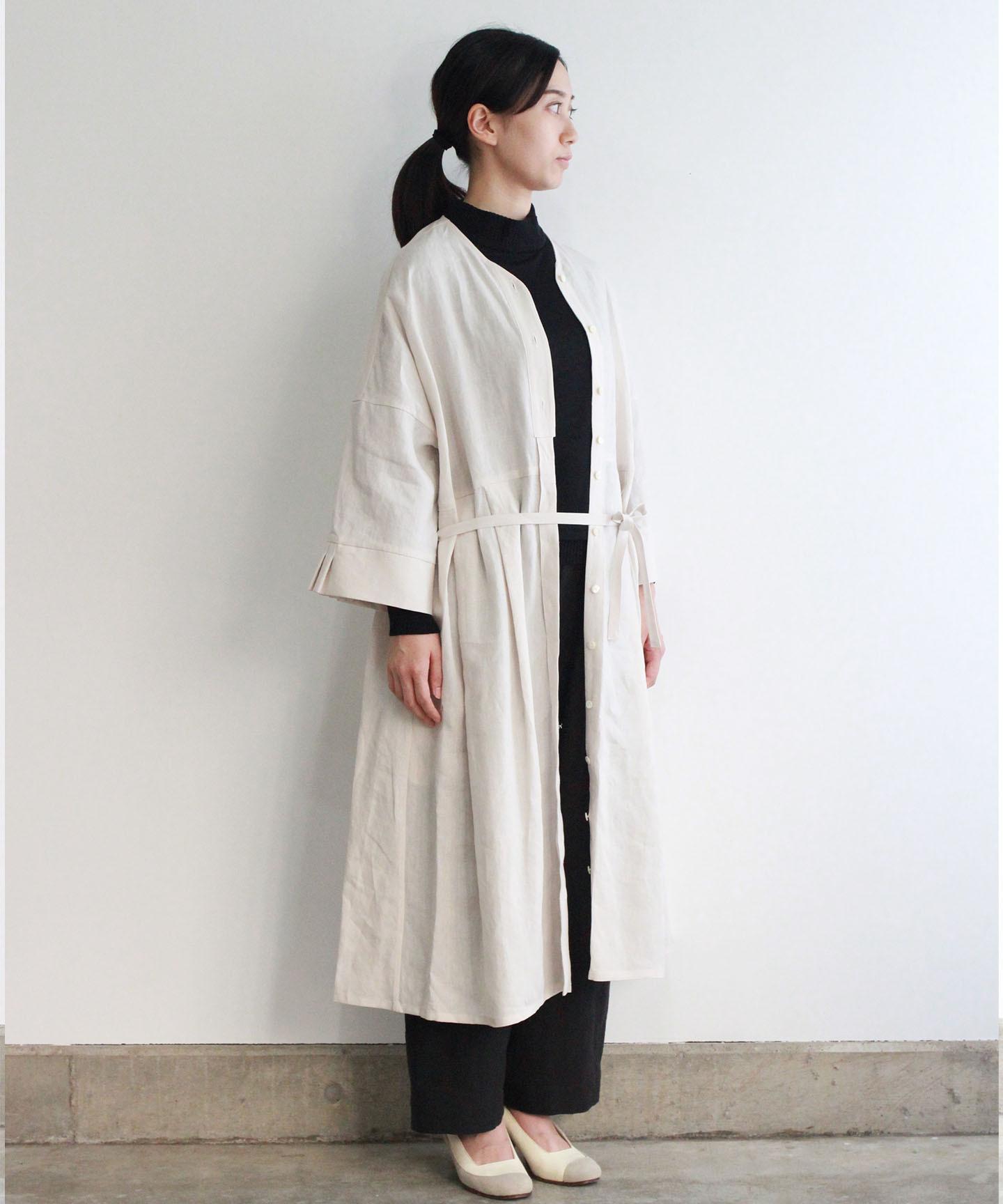 【予約商品】リネンタックカフスワンピースドレス(evi603 WHT・ホワイト)