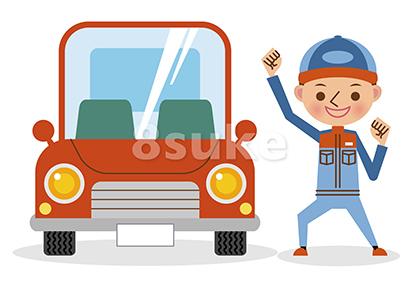 イラスト素材:ガッツポーズで喜ぶ自動車整備士と赤い車(ベクター・JPG)