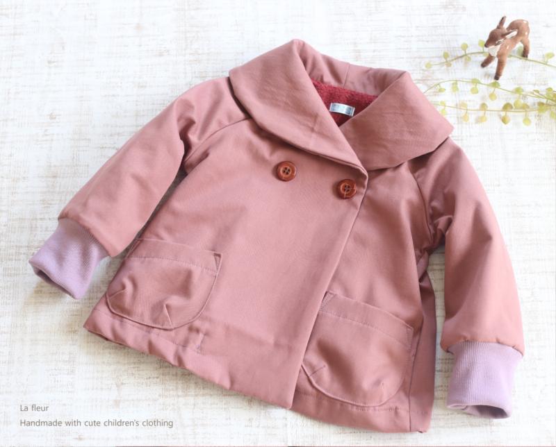 【100】ショールカラーコート*Aラインコート  綿裏起毛 ピンク/Lafleur