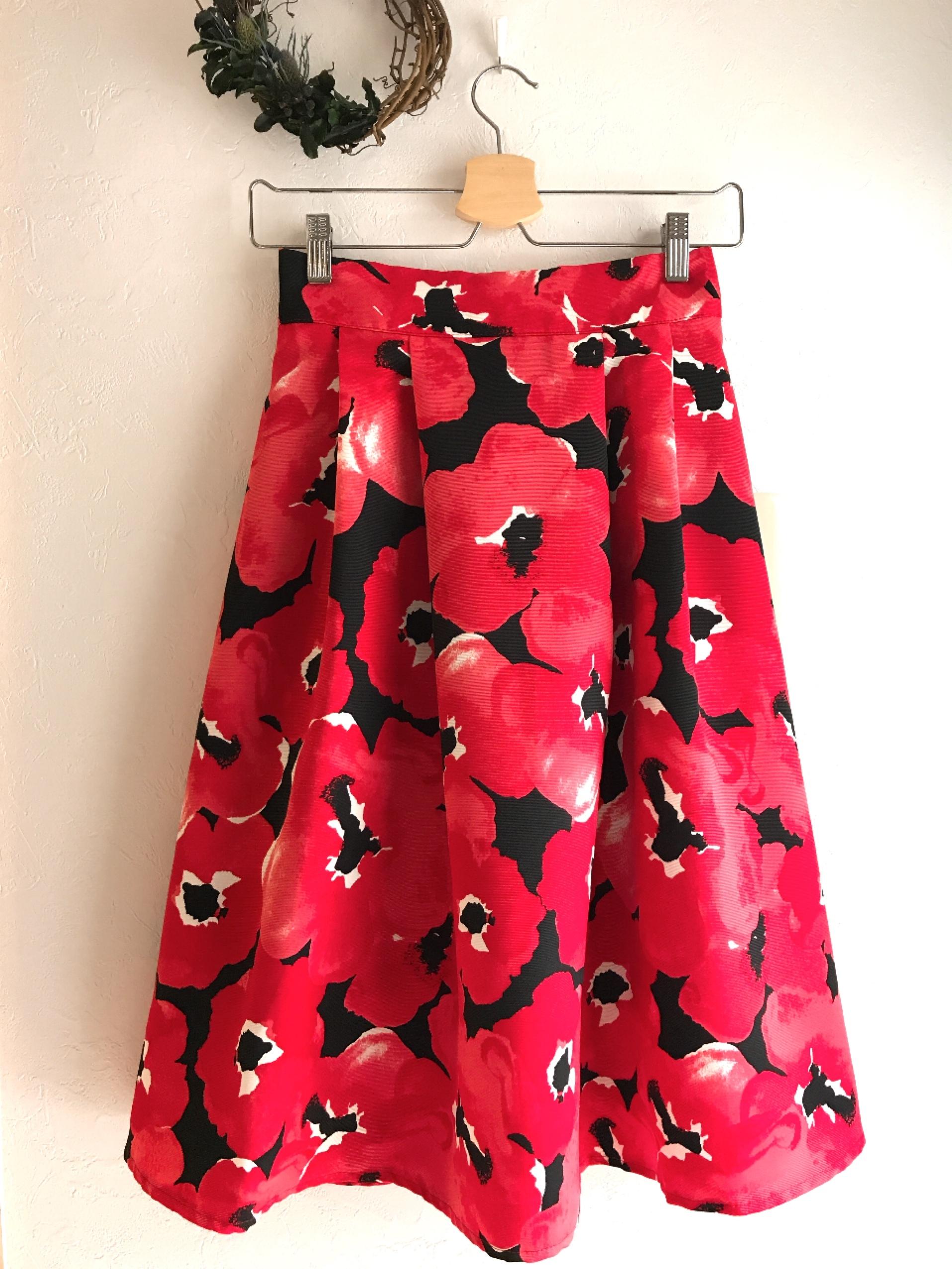 可愛いお花いっぱいスカート レッド